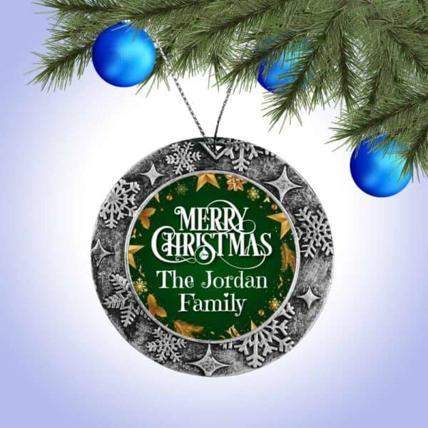Personalized Round Ornament – Merry Christmas From