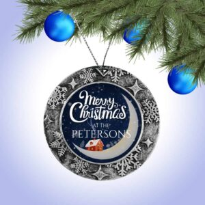 Personalized Round Ornament – Merry Christmas Moon Design