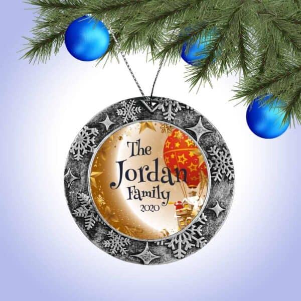 Personalized Round Ornament – Santa Balloon Design