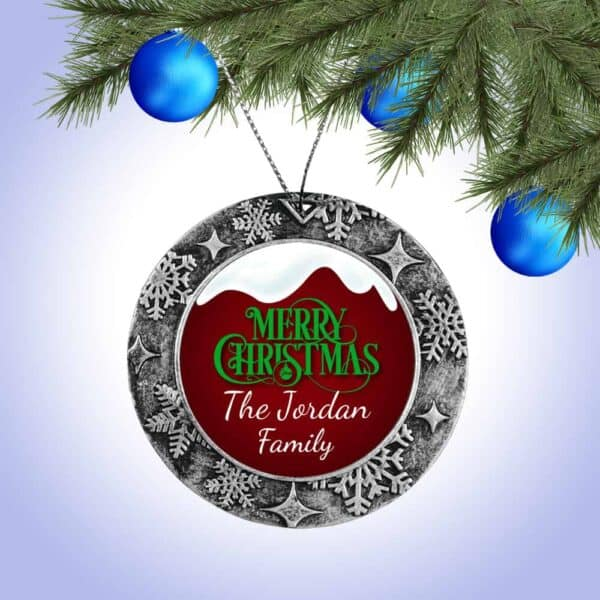 Personalized Round Ornament – Snow Top Merry Christmas Design