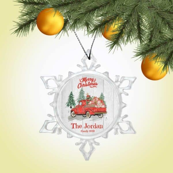 Personalized Snow Crystal Ornament – Merry Christmas with Truck Design