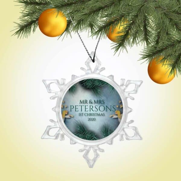 Personalized Snow Crystal Ornament - First Christmas