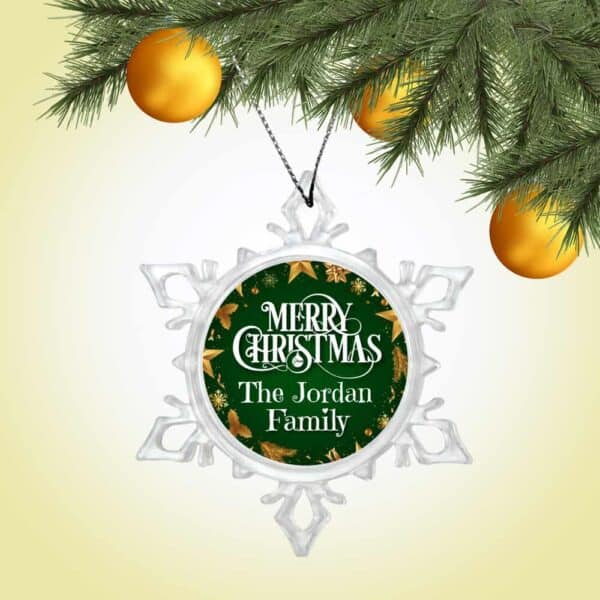 Personalized Snow Crystal Ornament - Merry Christmas From