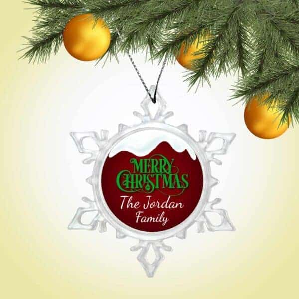 Personalized Snow Crystal Ornament - Snow Top Merry Christmas Design