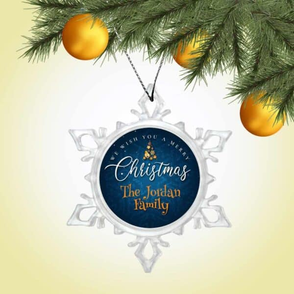 Personalized Snow Crystal Ornament - We Wish You A Merry Christmas