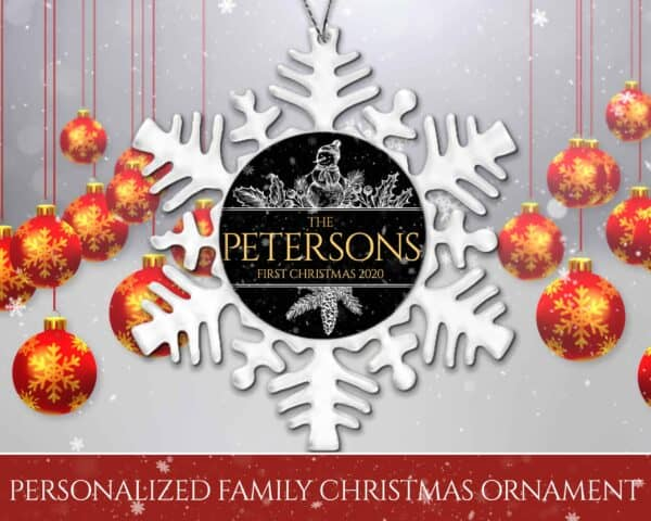 Personalized Snowflake Ornament – First Christmas Snowman Design