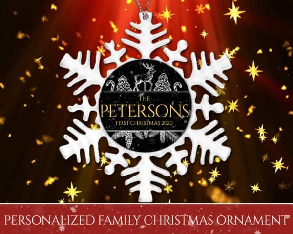Personalized Snowflake Ornament - First Christmas with Reindeer DesignPersonalized Snowflake Ornament - First Christmas with Reindeer Design View 3