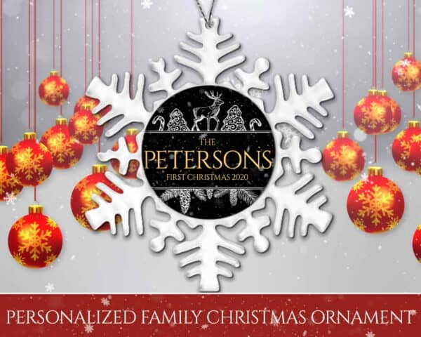 Personalized Snowflake Ornament - First Christmas with Reindeer Design View 2