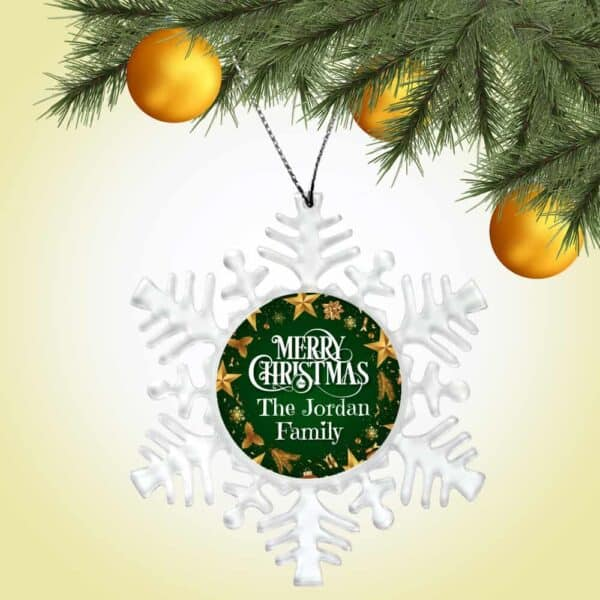 Personalized Snowflake Ornament - Merry Christmas From