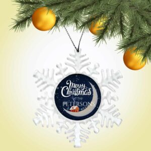 Personalized Snowflake Ornament – Merry Christmas Moon Design
