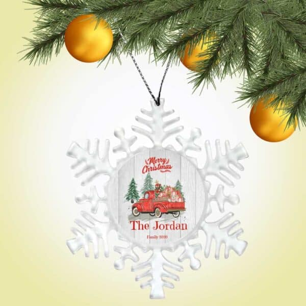 Personalized Snowflake Ornament - Merry Christmas Truck