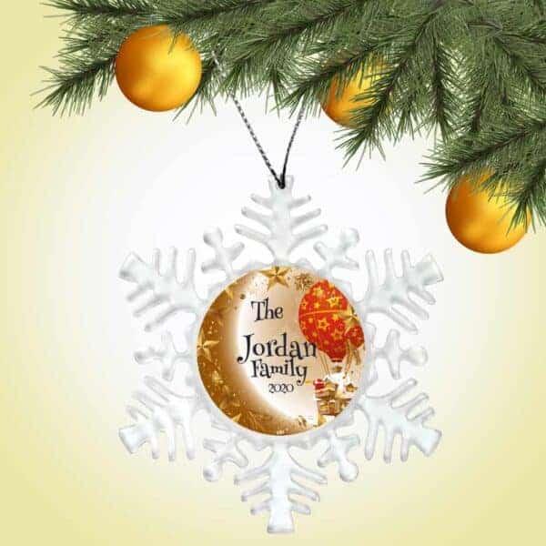 Personalized Snowflake Ornament - Santa Balloon