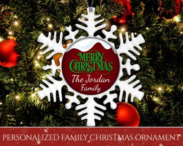 Personalized Snowflake Ornament - Snow Top Merry Christmas