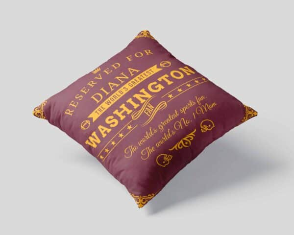 Washington Football Fan Personalized Printed Pillow Case pillow mockup View 1