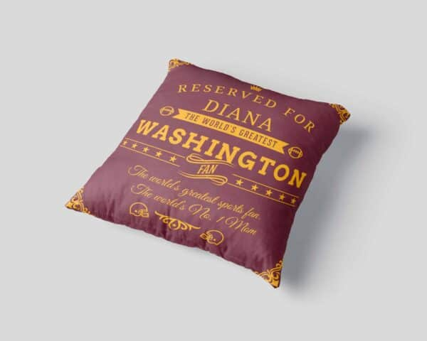 Washington Football Fan Personalized Printed Pillow Case pillow mockup View 3