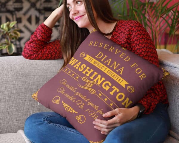 Washington Football Fan Personalized Printed Pillow Case pillow mockup View