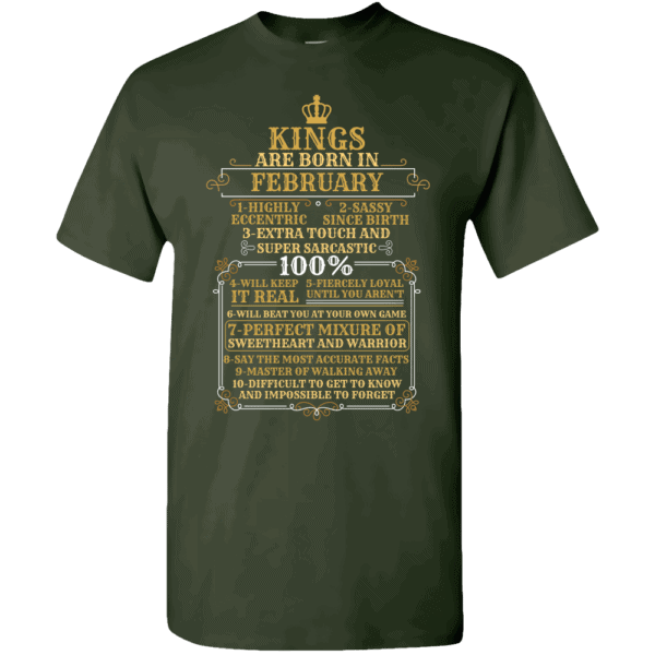 Personalized Kings Are Born T-Shirt Design Forest Green