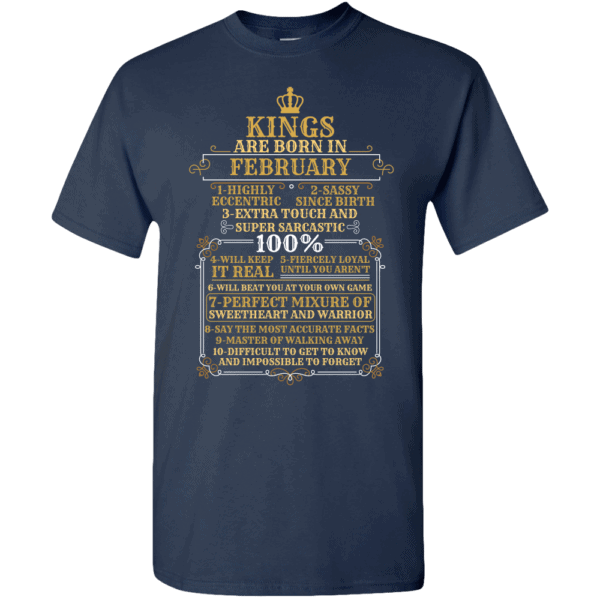 Personalized Kings Are Born T-Shirt Design Navy