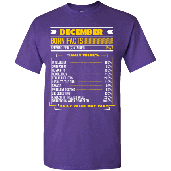 Birthday Facts Personalized Printed T-Shirt Deep Purple
