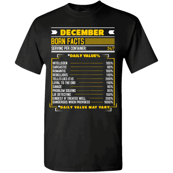 Birthday Facts Personalized Printed T-Shirt Black
