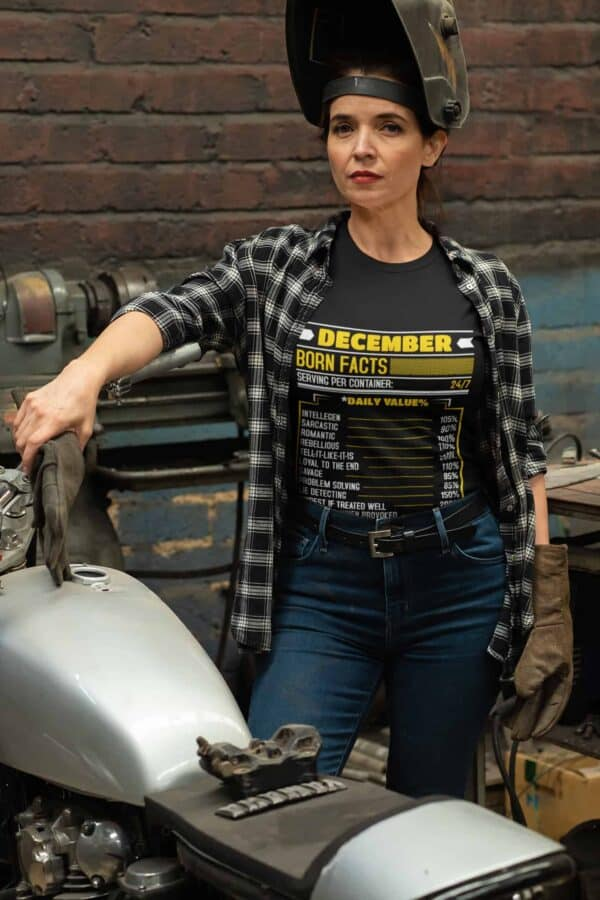 Birthday Facts Personalized Printed T-Shirt mockup of a woman repairing her motorcycle