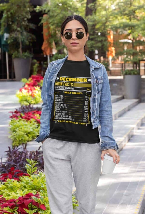 Birthday Facts Personalized Printed T-Shirt mockup of an athleisure styled woman