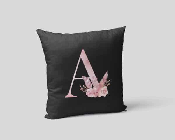 Custom Printed Monogram Letter A on Black Pillow Case mockup-square-02