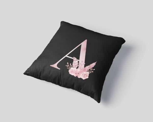 Custom Printed Monogram Letter A on Black Pillow Case mockup-square-03
