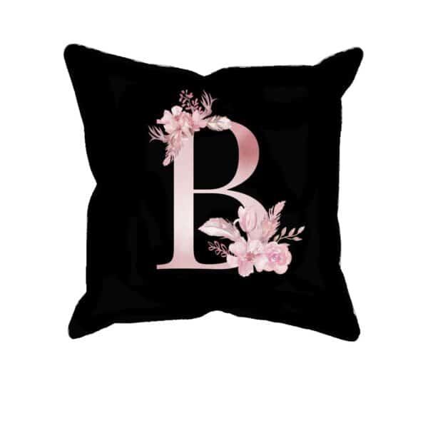 Custom Printed Monogram Letter B on Black Pillow Case
