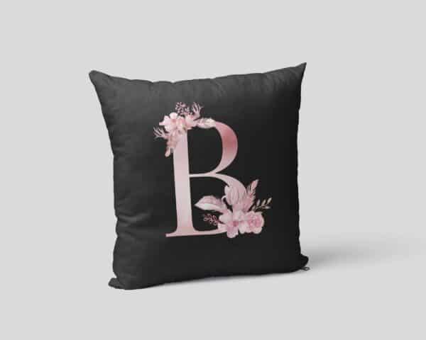 Custom Printed Monogram Letter B on Black Pillow Case pillow mockup square-02