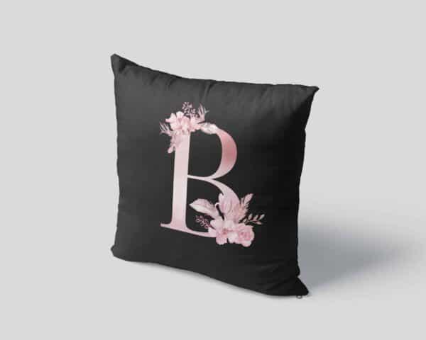 Custom Printed Monogram Letter B on Black Pillow Case pillow mockup square-04