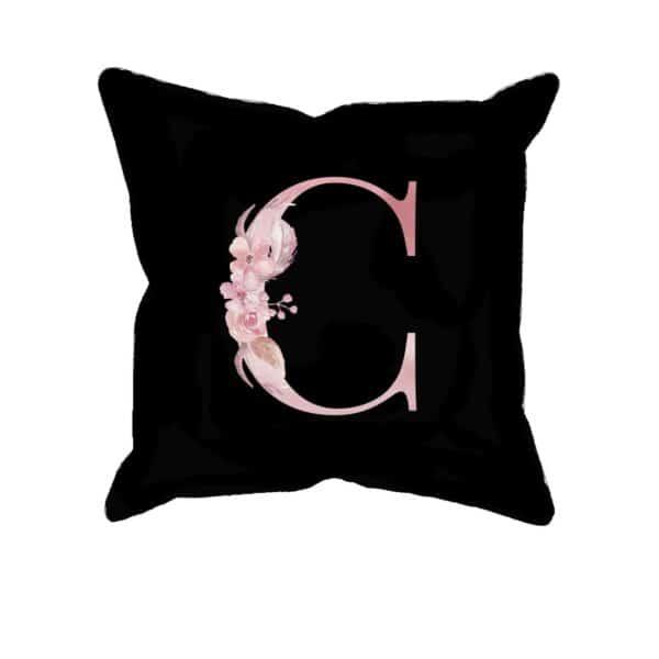 Custom Printed Monogram Letter C on Black Pillow Case