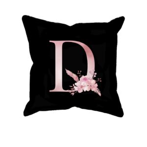 Custom Printed Monogram Letter D on Black Pillow Case