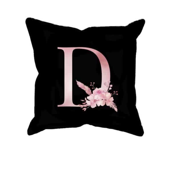 Custom Printed Monogram Letter D on Black Pillow Case