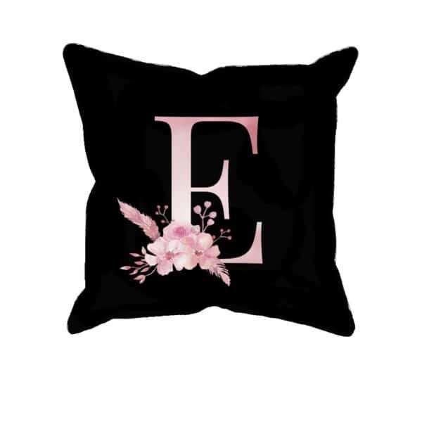 Custom Printed Monogram Letter E on Black Pillow Case