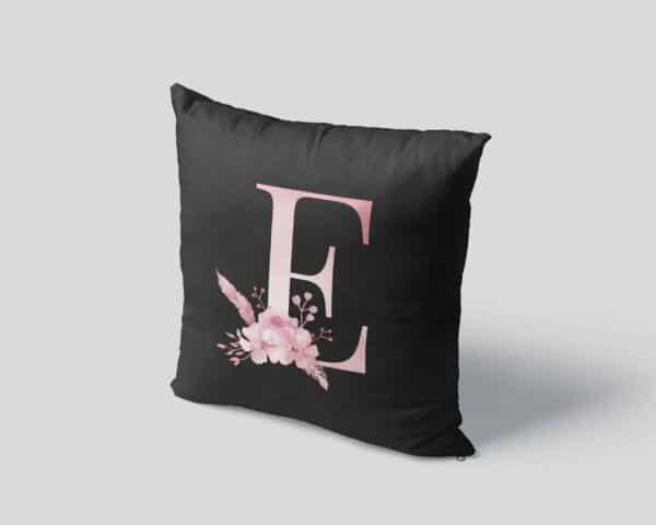 Custom Printed Monogram Letter E on Black Pillow Case mockup square-04