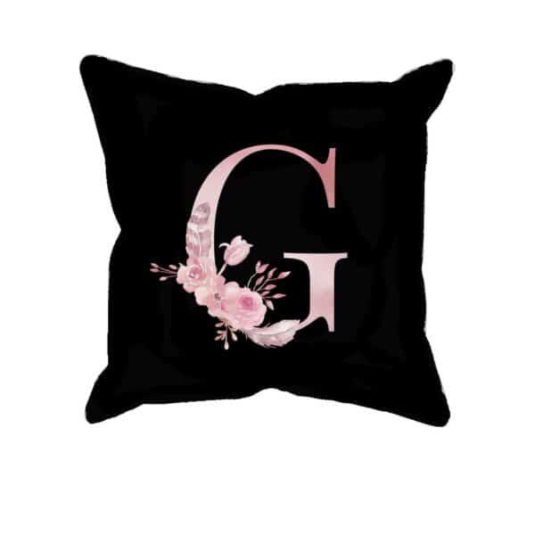 Custom Printed Monogram Letter G on Black Pillow Case