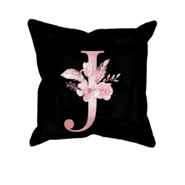 Custom Printed Monogram Letter J on Black Pillow Case