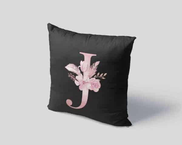 Custom Printed Monogram Letter J on Black Pillow Case mockup square-04