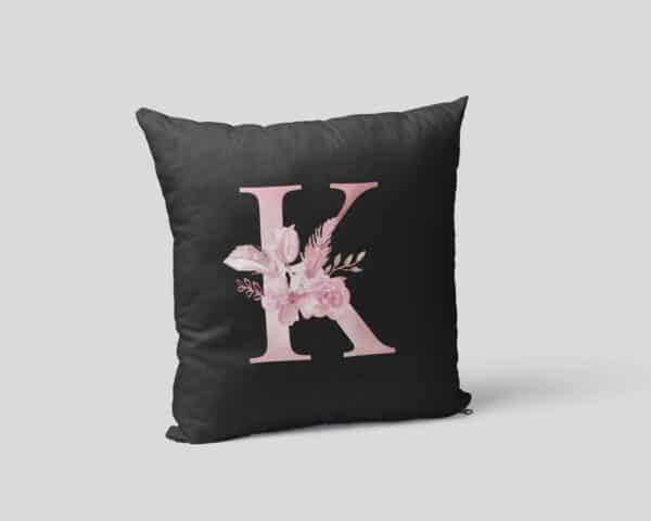 Custom Printed Monogram Letter K on Black Pillow Case mockup square-02