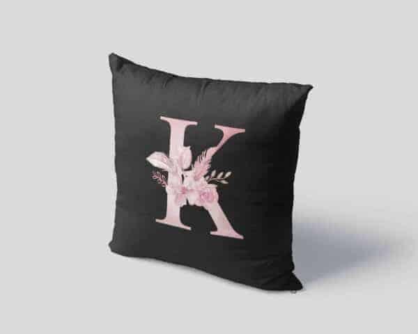 Custom Printed Monogram Letter K on Black Pillow Case mockup square-04
