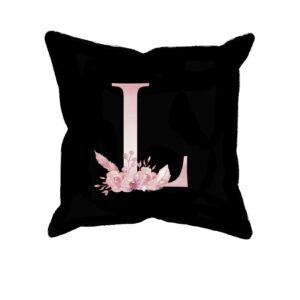 Custom Printed Monogram Letter L on Black Pillow Case