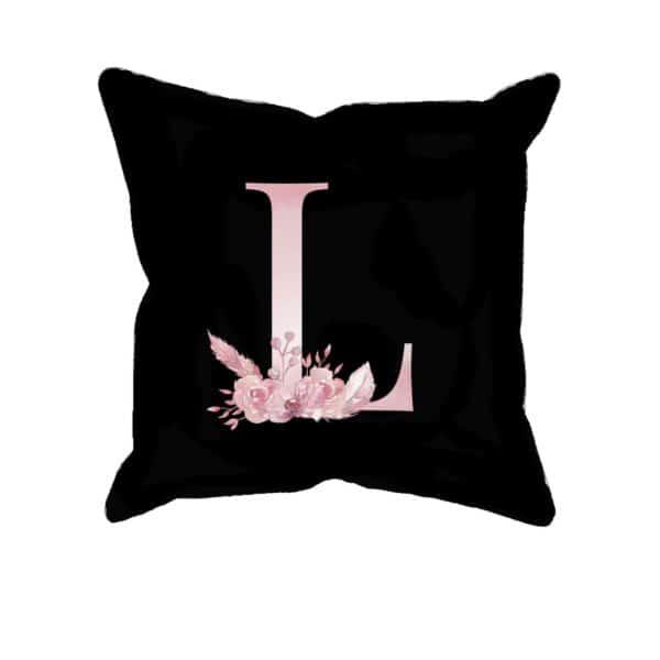 Custom Printed Monogram Letter L on Black Pillow Case