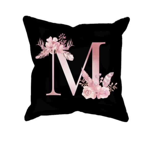 Custom Printed Monogram Letter M on Black Pillow Case