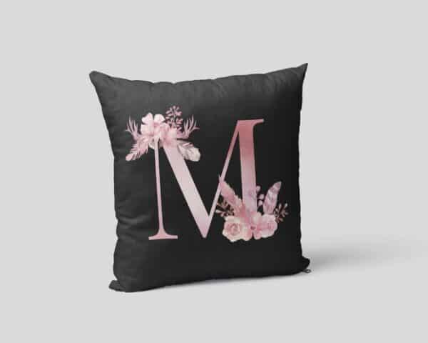 Custom Printed Monogram Letter M on Black Pillow Case mockup square-02