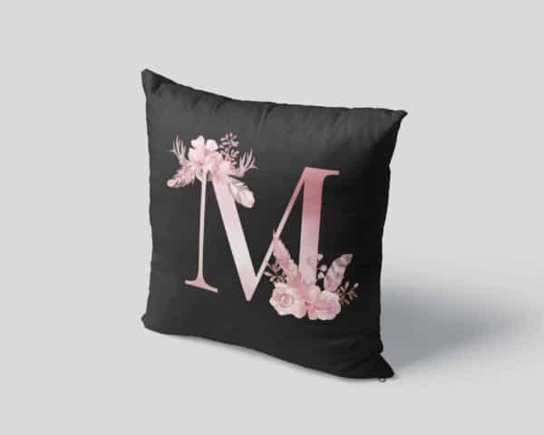 Custom Printed Monogram Letter M on Black Pillow Case mockup square-04