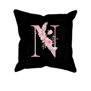 Custom Printed Monogram Letter N on Black Pillow Case