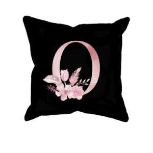 Custom Printed Monogram Letter O on Black Pillow Case