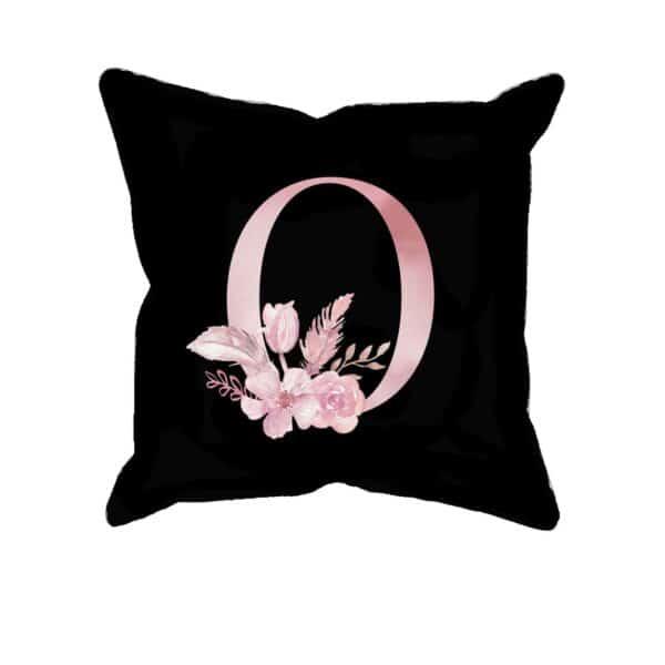 Custom Printed Monogram Letter O on Black Pillow Case