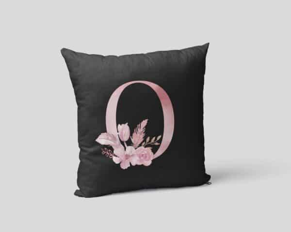 Custom Printed Monogram Letter O on Black Pillow Case mockup square-02